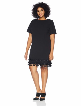 Calvin Klein Women's Size Solid Short Sleeve Sheath with Fringe Trim
