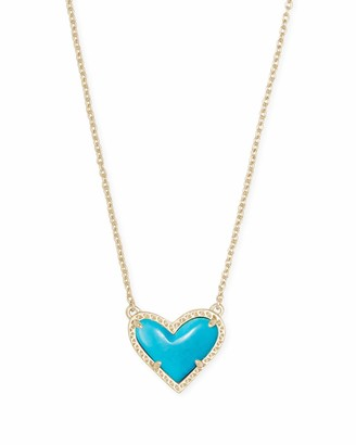 Kendra Scott Ari Heart Adjustable Length Pendant Necklace for Women Fashion Jewelry 14k Gold Plated