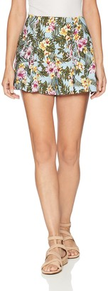 J.o.a. Women's Printed Shorts with Lace up Detail at Hips