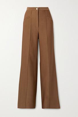 Brandon Maxwell Wool And Silk-blend Twill Wide-leg Pants - Light brown