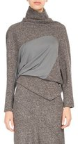 Atlein Galaxy Tweed Paneled Turtleneck Sweater