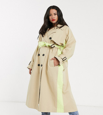 ASOS DESIGN Curve neon spliced trench coat in stone