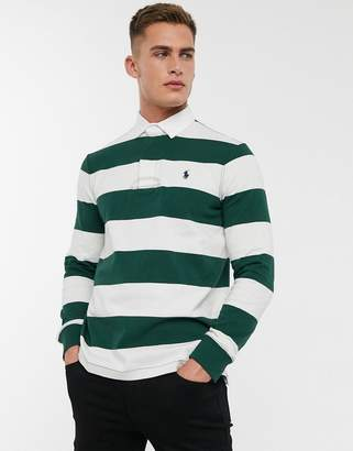 Polo Ralph Lauren long sleeve stripe rugby polo shirt in green with logo