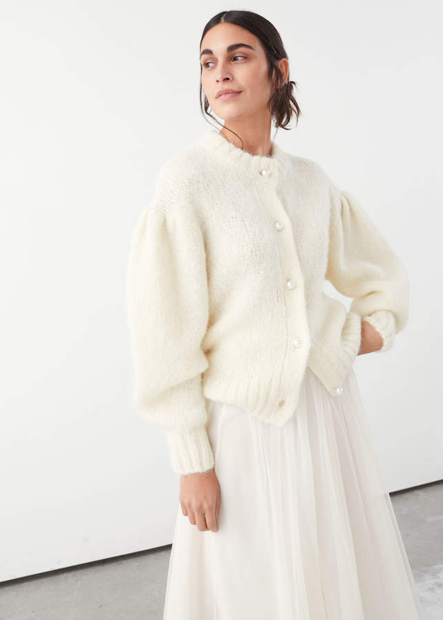 And other stories Pearl Button Puff Sleeve Cardigan
