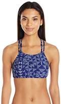 Splendid Women's Deckhouse Geo Soft Cup High Neck Bra Bikini Top