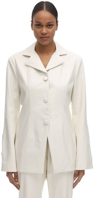 LIYA Fitted Faux Leather Blazer
