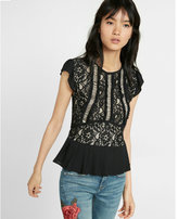 Express floral lace ruffle short sleeve tee