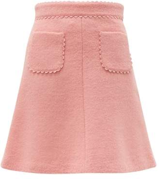 RED Valentino Scallop Trimmed Wool Blend Boucle Mini Skirt - Womens - Pink