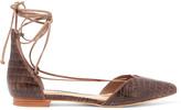 Schutz Neida snake-effect leather point-toe flats