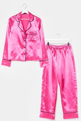 Nasty Gal Womens Candy Coated Button-Down Satin Pajama Set - Bright Pink