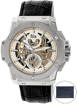 Reign Men's Watches Silver/Black - Stainless Steel & Black Kahn Skeleton Bracelet Watch - Gift With Purchase