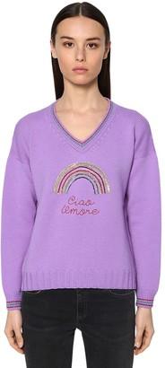 Giada Benincasa Embellished Virgin Wool Knit Sweater
