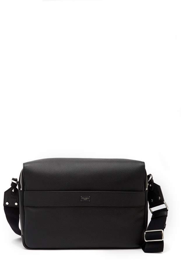 Dolce & Gabbana Pebbled Leather Messenger Bag