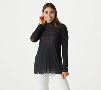 Logo by Lori Goldstein LOGO Layers by Lori Goldstein Sheer Mesh Mock Neck Top with Lace Trim