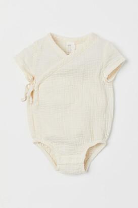 H&M Wrapover Cotton Bodysuit - White