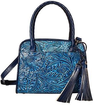 Patricia Nash Small Paris with Tooled Flower Design (Safflower Blue) Bags