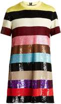 Ashish Striped sequin-embellished mini dress