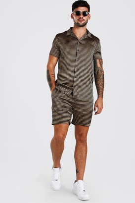 boohoo Mens Brown Short Sleeve Satin Dogtooth Skirt And Short Set, Brown