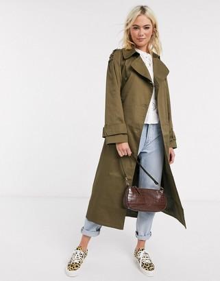 Asos DESIGN longline trench coat in khaki
