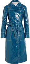 Sonia Rykiel Belted Crinkled-vinyl Trench Coat - Cobalt blue