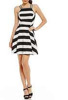 Jodi Kristopher Striped Open Back A-Line Dress