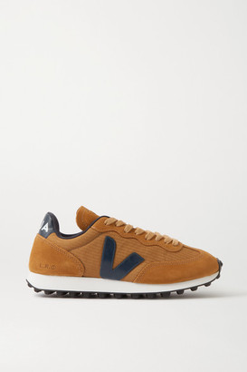Veja Rio Branco Leather-trimmed Suede And Mesh Sneakers - Brown
