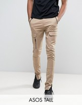 Asos TALL Super Skinny Fit Pants with Zip Cargo Pockets in Stone