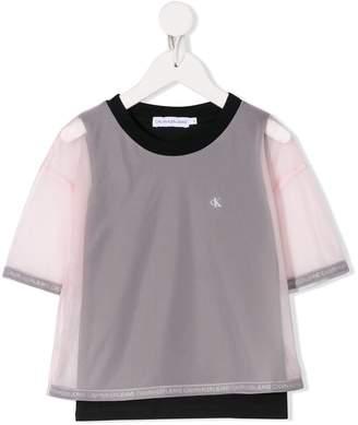 Calvin Klein Kids contrast sleeve mesh panel T-shirt