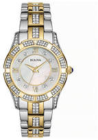 Bulova Pave Crystal and Mother-of-Pearl Stainless Steel Watch