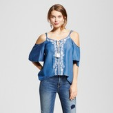XOXO Women's Embroidered Cold Shoulder Top Juniors') Blue