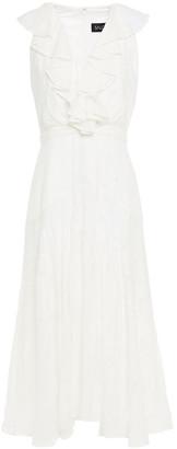 Saloni Ria Ruffled Fil Coupe Midi Dress
