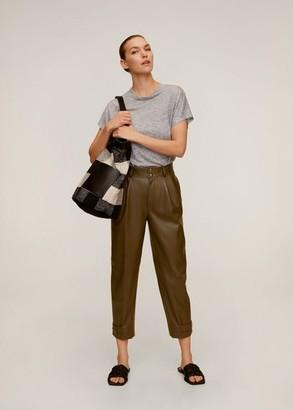 MANGO Linen T-shirt medium heather grey - L - Women