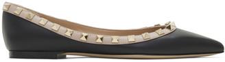 Valentino Black Garavani Smooth Rockstud Ballerina Flats