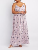 Charlotte Russe Plus Size Floral Pleated V-Neck Maxi Dress