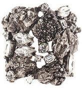 Saint Laurent Silver Tone Crystal Embellished Arty Cuff Bracelet