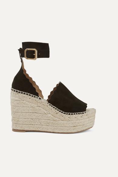 Chloé Lauren Suede Espadrille Wedge Sandals - Black