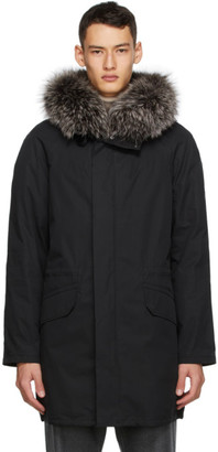 Yves Salomon Army Black Down and Fur Coat