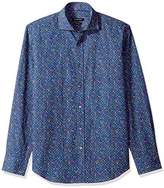 Bugatchi Men's Tappered Fit Printed Dots Spread Collar Shirt