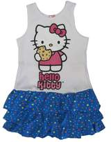 Hello Kitty Little Girls Blue Heart Dropped Waist Dress