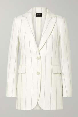 Akris Abiqui Pinstriped Herringbone Linen Blazer - Off-white
