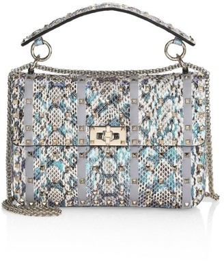 Valentino Medium Rockstud Spike Animations Snakeskin Shoulder Bag