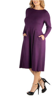 N. 24Seven Comfort Apparel Midi Length Fit Flare Pocket Plus Size Dress