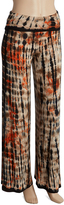 Brown Tie-Dye Fold-Over Palazzo Pants