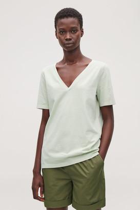 Cos Deep V-Neck Jersey T-Shirt