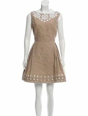Dennis Basso Embellished Linen Dress Khaki