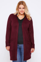 Yours Clothing Berry Boucle Longline Cardigan With Pockets