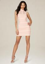 Bebe Lace Panel Mock Neck Dress