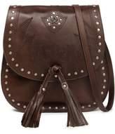 Just Cavalli Embellished Embroidered Leather Shoulder Bag
