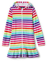 Lands' End Little Girls Long Sleeve Hooded Knit Cover Up-Multi Stripe