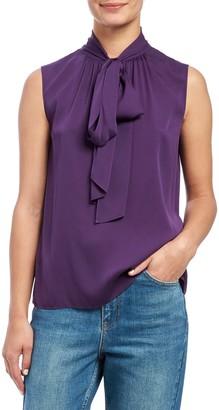 Theory Scarf Tie Sleeveless Silk Blend Blouse